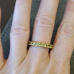 Vintage 925 Gold plate with green